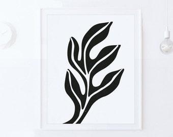 Mid Century Modern Art Print, Black and White PRINTABLE Wall Art, Living Room Art, INSTANT DOWNLOAD Art, Black White Print, Scandinavian Art