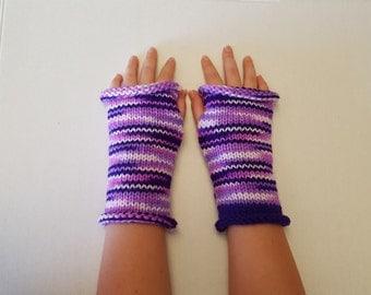 Knit Fingerless Gloves, Purple Knit Gloves, Arm Warmers, Wrist Warmers, Knitted Fingerless Gloves, Fingerless Mittens, Knit Wristlets