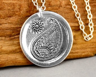 Paisley Necklace - Silver Pendant Necklace - Paisley Jewelry - Sterling Silver Bohemian Sun Charm Jewelry - Paisley Pendant - Hippie Jewelry
