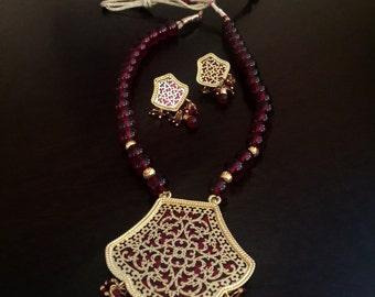 Thewa necklace/ Indian jewelry/ethnic  thewa jewelry/jaipur/mughal/bajirao mastani/ filigree/indian wedding/indian bridal