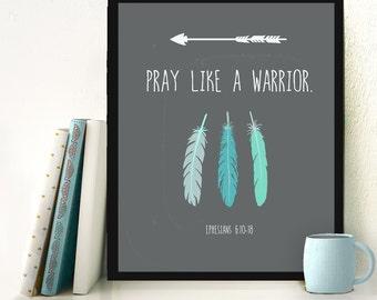Prayer Warrior print, Scripture quote printable