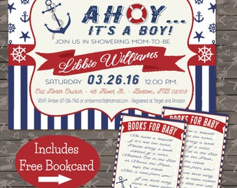 Nautical Baby Shower Invite and bookcard combo