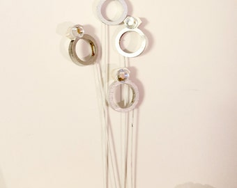 Miniature Engagement Ring Wedding Pops, Centerpiece/Bouquet Decorations! Any colour, made to order!