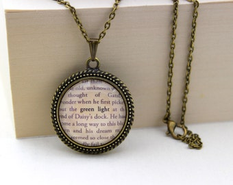The Great Gatsby, 'Green Light', F. Scott Fitzgerald Book Quote Necklace.