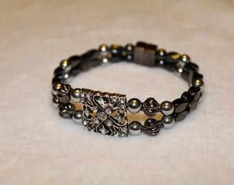 Magnetic Hematite Bracelet, Silver Color Womens Bracelet