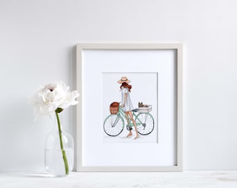 INSTANT DOWNLOAD, Fashion Print, digital download, Fashion Illustration, Printable Art, art prints, pet portrait, bicycle art, cute decor