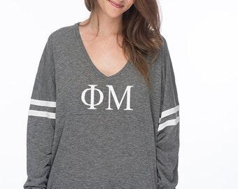 Phi Mu Varsity Slub Long Sleeve Tee, Phi Mu shirt, Phi Mu Sorority Tshirt, PhiMu Sorority Apparel, Greek Gear, Phi Mu Clothing, PhiMu Gifts