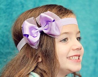 Baby Bow, Girls Bow, Hair Bow, Purple, Satin Bow, Chiffon, Girl Hair Clip, Clippie, Baby Headband, Girl Headband, Headband, Girl, Baby Girl
