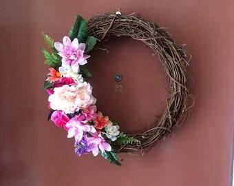 Grapevine Flower Door Wreath