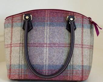 Wool fabric handbag//Tweed Bag//Fabric Purse made to order