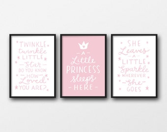 Girls Room Wall Art Set Of 3 Nursery Prints Pink Baby Girl Wall Art Nursery Decor Gift For Little Girl Typographic Wall Art Sparkle Quote