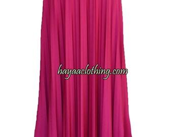 FUCHIA Flare Jersey Pleated Maxi Skirt | Modest Long Skirt | Islamic Clothing S M L XL 2XL 3XL 4XL