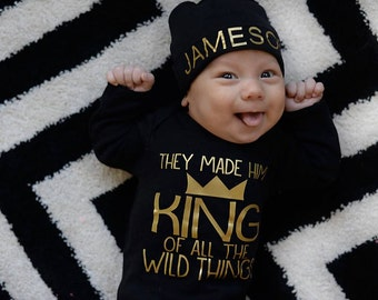 They made him King of the Wild Things bodysuit - Top Selling Items - newborn boy gown - Baby shower gift - newborn boy coming home outfit