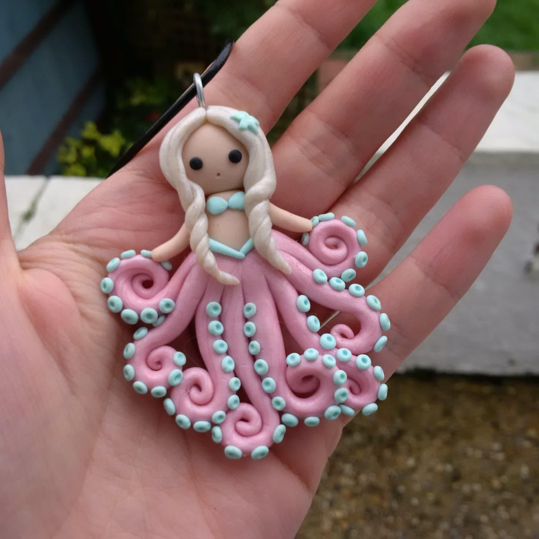 Handmade Polymer clay Octopus tentacle mermaid chibi girl doll