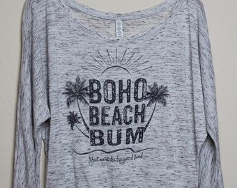 Graphic Tee, Festival Clothes, Boho T-Shirt, Beach Clothing, Long Sleeve Dolman, Boho Graphic Tshirt, Spring Summer Clothes, Beachwear