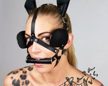 Leather mask harness Pony