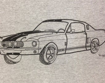 Shelby Mustang Muscle Car Tee Shirt- Shelby Mustang Gift- Mustang Tee Shirt- Mustang Gift-Original Hand Drawn Mustang Shirt- Size Medium