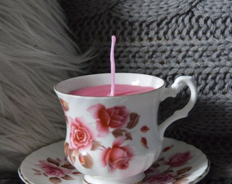 Vintage Teacup with light scented candle