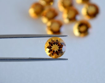 Natural Yellow Citrine 8 MM and 6 MM Faceted Round, Golden Yellow Color, Fine Quality. Designer Gems. Sold per piece