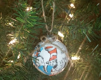 Dr. Seuss Cat in the Hat book pages ornament,  upcycled book
