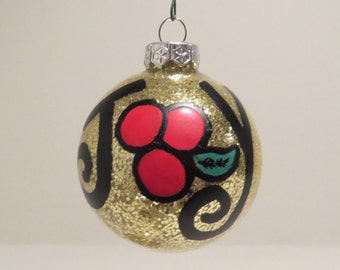 JOY Holly Berry Christmas ornament Handpainted