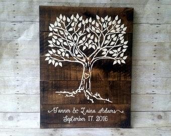 Wedding Guest Book Tree, Thumbprint, Family Tree, Wedding,  Rustic
