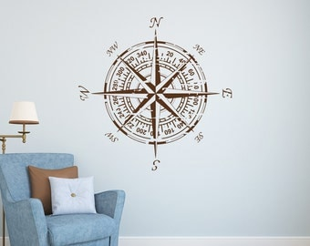 Compass Wall Decal- Nautical Compass Wall Decal- Compass Rose Decal- Compass Rose Wall Decor- Nautical Vinyl Wall Decals For Bedroom 126