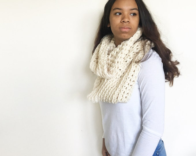Large Chunky Knit Huge Crochet Cowl Infinity Scarf//THE CUMULUS//in Fisherman