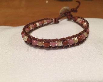 4mm gemstone and leather bracelet