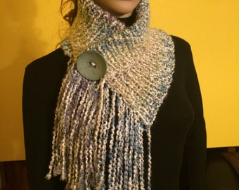 Fringed Chunky Scarf Cowl Neckwarmer with One Natural  Shell Button in Spa Blue color