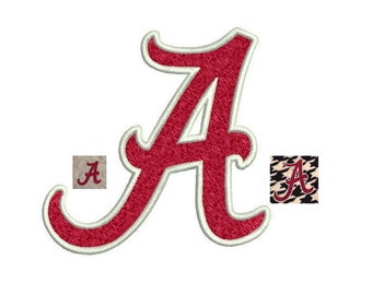 Alabama A Embroidery Design - 4 sizes Instant Download