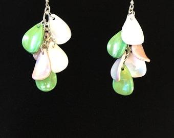 White pink green dangle earrings