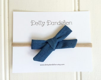 Baby Denim Headband - Blue Hair Bow - Denim Hair Bow