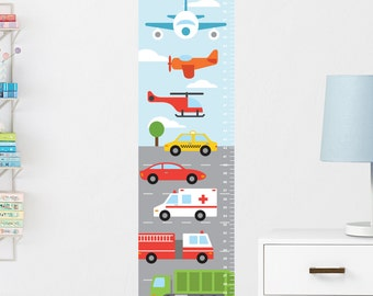 Transportation Growth Chart Decal, Wall Growth Chart Decal, Growth Chart Sticker, Boys Height Chart, Growth Ruler Decal, Kids Growth Chart