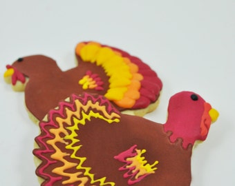 Turkey -  Thanksgiving Cookies - Fall Cookies - Decorated Iced Sugar Cookies - 1 Dozen Turkeys - Thanksgiving dinner party favor - cute gift