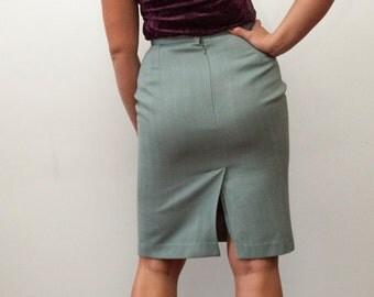 Vintage High Waisted Skirt Pencil Skirt 90s Formal Skirt Office Skirt Knee Length Skirt High Waist Light Gray Green Skirt Wool Skirt Size M