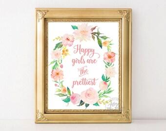 Happy girls are the prettiest, Audrey Hepburn quote, Audrey Hepburn, happy girls are, printable art, instant download, Audrey Hepburn art,