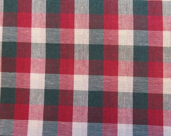 Holiday Plaid Quilt/Craft Fabric - Red & Green on Beige - Vintage - 1/2 Yd.