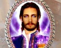 Saint Germain The Ascended Master of the Violet Flame Seventh Ray Necklace Catholic Christian Religious Jewelry Medal Pendant