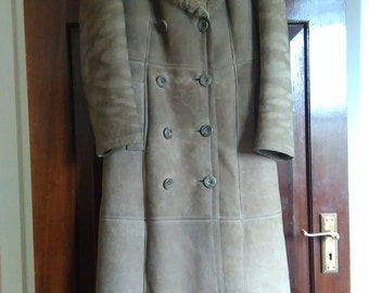 Vintage 70's Sheepskin Longline Coat with Persian Lamb Collar
