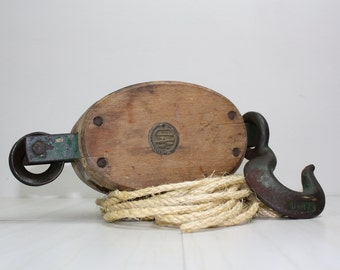 Antique Barn Pulley-U.W. Wooden Pulley-Industrial
