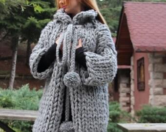 Chunky Knit Cardigan /  Chunky knit Jacket / Hand knit Cardigan, Grey Chunky Cardigan / Christmas Gift,  Chunky knit Sweater, Birthday Gift