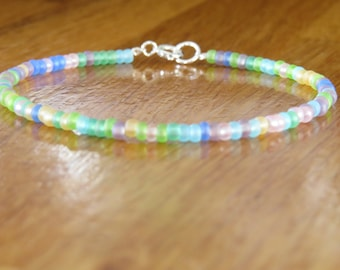 Multicolour Sea Glass/ Frosted Beaded Bracelet