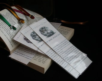 Laminated Harry Potter Bookmark with satin ribbon and Tibetan silver charm