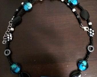 Blue and black elegant necklace