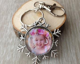 Custom Photo Keychain - Picture Keychain - Personalized Keychain - Photo Jewelry - Gift - Keepsake - Snowflake
