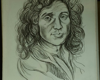"""Lithograph after """"Molière"""" by Charles Brandie 4/50"""