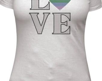 Love LGBTQ Pulse-Orlando rhinestone tee shirt