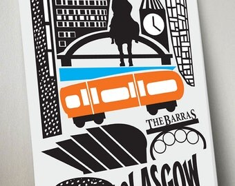Glasgow print, Glasgow art. scotland, modern art print