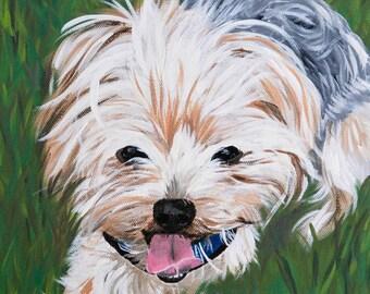 Personalized Dog Portrait | Yorkie | Yorkshire Terrier | acrylic | canvas dog art | dog memorial | unique gift idea | commissioned portrait